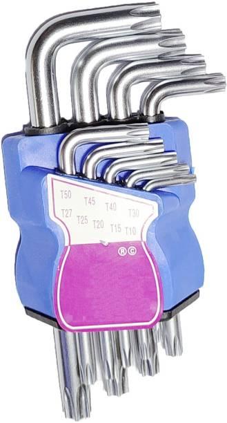 Inditrust 9Pcs L Type Screwdriver Double-End Wrench Set Allen Key Hexagon Torx Star Spanner Key Set Hand Tools Allen Key Set