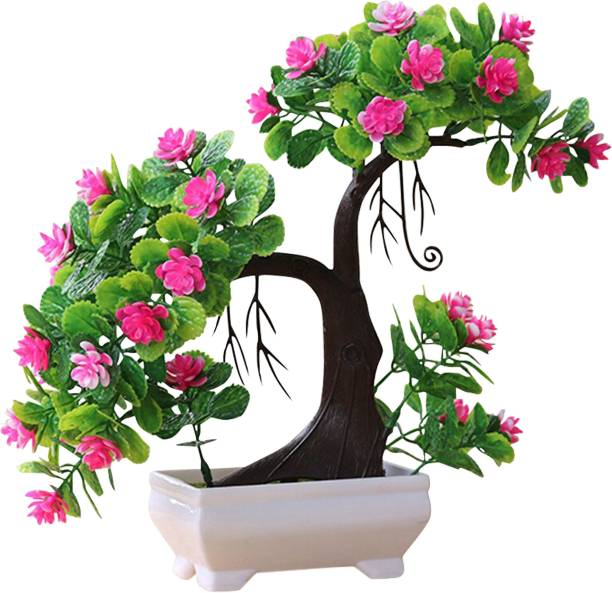 TIED RIBBONS Decorative Bonsai Artificial Tree with Pot for Office Table Living Room Indoor Home Decor Bonsai Wild Artificial Plant  with Pot