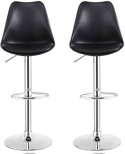 SAVYA HOME CURVY KITCHEN STOOL/BAR STOOL (COMBO QTY-2) BLACK COLOR Leatherette Bar Stool