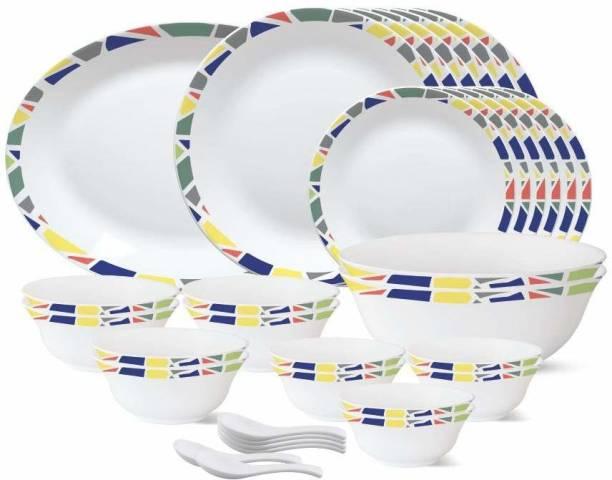 """BOROSIL Pack of 33 Opalware Garnet {{1-Piece 13"""" Rice Plate}} {{6-Piece 11"""" Full Plate}} {{6- Piece 7"""" Quarter Plate}} {{6- Piece 4.5"""" Veg Bowl}} {{2-Piece 8"""" Serving Bowl}} {{6-Piece 5"""" Soup Bowl}} {{6- Piece Spoons}} Dinner Set"""