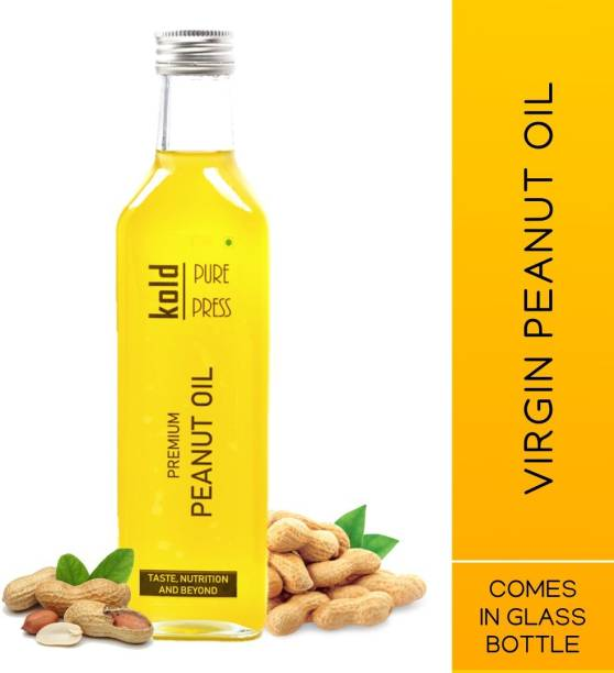 KOLD PURE PRESS Virgin Peanut Oil | Cold Pressed | For Cooking, Hair & Skin | Comes in Glass Bottle | 500ml Groundnut Oil Glass Bottle