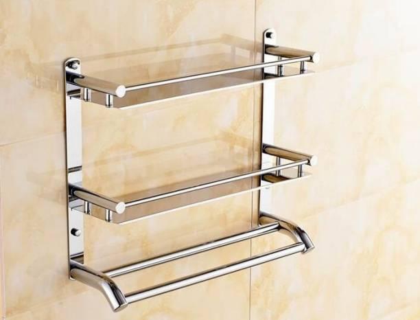 GARBNOIRE Multi-Purpose Wall Mount 2 Tier Bathroom Shelf with Towel Bar Stainless Steel Wall Shelf