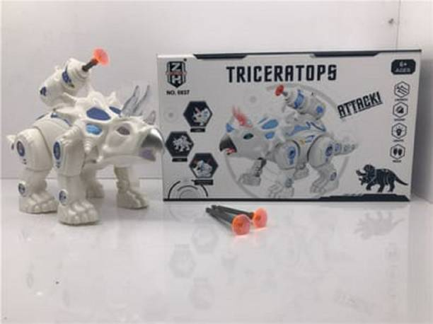 DMTE triceratopts attacks anilmal robot toy