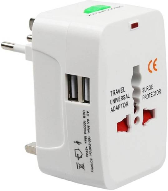 GLAMAXY Universal Travel Adapter with Built-in Dual USB Charger Ports (White) Worldwide Adaptor