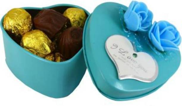 Regallo Chocolates in Firozi Heart Box For Valentines | Birthday |Anniversary Bars