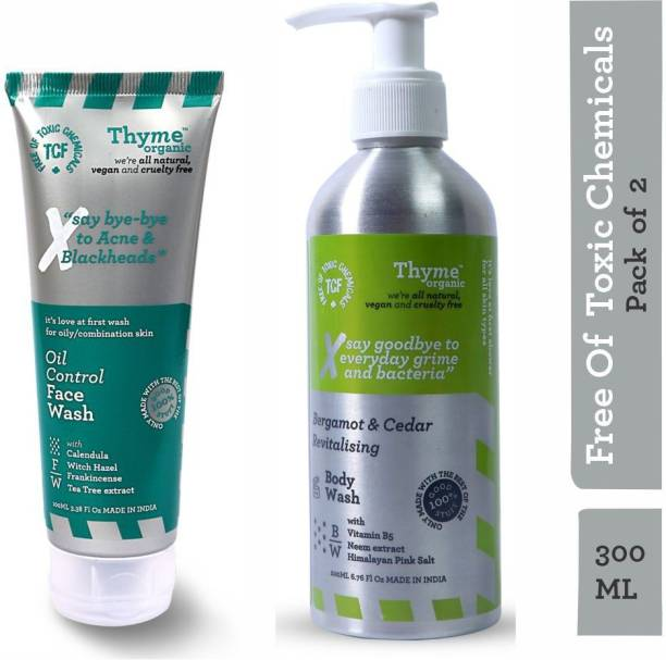 Thyme Organic Bergamot & Cedar Revitalizing Body Wash With Vitamin B5 + Oil Control Face Wash - Controls Acne & Blackheads-Toxic Chemical Free (Combo Pack of 300ML)