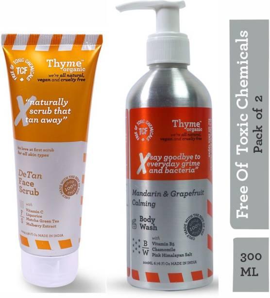 Thyme Organic Mandarin & Grapefruit Calming Body Wash + De-Tan Face Scrub with Vitamin B5 & C-Toxic Chemical Free (Combo Pack of 300ML)
