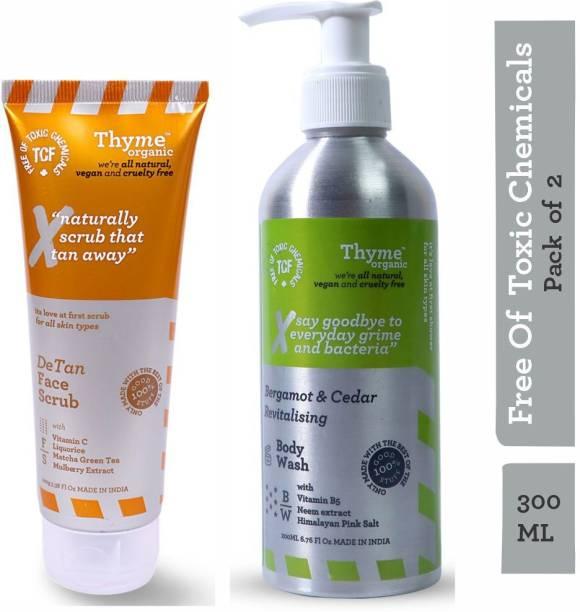Thyme Organic Bergamot & Cedar Revitalising Body Wash + De-Tan Face Scrub with Vitamin B5 & C-Toxic Chemical Free (Combo Pack of 300ML)