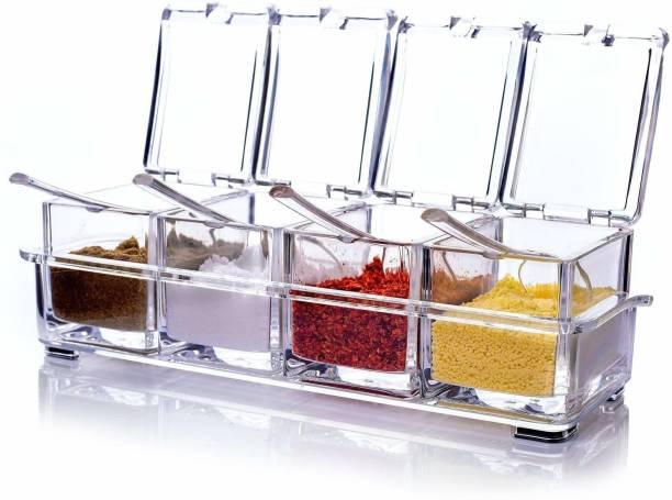 Premsakhi Crystal Seasoning Box Kitchen Acrylic Transparent Spice Jar Box Case Set Storage Container Condiment Jars Dispenser for Salt Sugar Cruet with Cover and with Serving Spoons 4 Piece Salt & Pepper Set