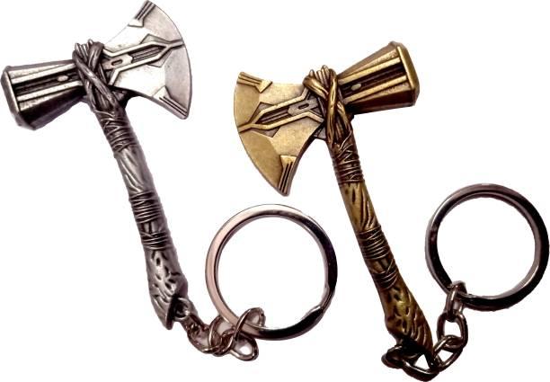 MASHKI New COMBO OF Stormbreaker New & Stylish (SILVER/GOLD) Marvel Avenger Infinity War(Set Of 2 Key Ring ) Key Chain
