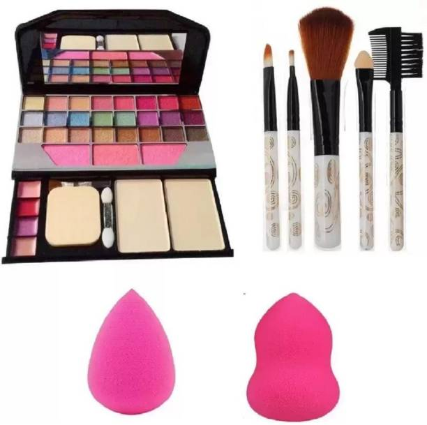 Miss Hot 6155 Makeup kit + 5 Pcs Makeup Brush + 2 Pc Blender Puff Combo