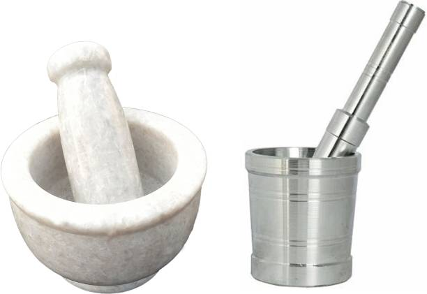 "AXOLOTL Set of two Mortar and Pestle/Imam Dasta/Khalbaata ( Marble 4"" Inch & Aluminium 3.2"" Inch ) Marble, Aluminium Masher"