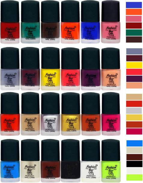 Fashion Bar New Classical Velvet Matte Nail Polish Set 1262 Maroonish Red,Rama Green,Dark Brown,Orange,Blue,Light Pink,Grey,Mauve,Yellow,Royal Pink,Purple,Nudish Peach,Red,Nude,Silver,Golden,Peaches Brown,Mazenta Pink,Sky Blue,Basecoat,Brown,Black,White,Redium Greeen