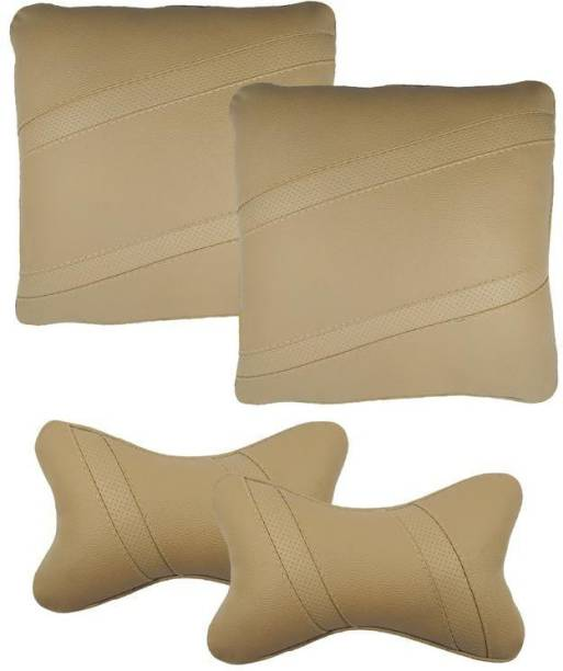 Infinity Fox Beige Leatherite Car Pillow Cushion for Universal For Car
