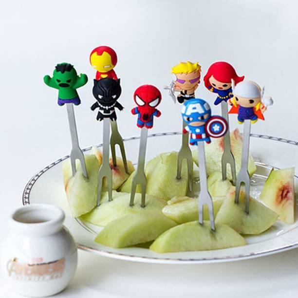BonZeal Superhero Avengers Kids Silicone Grip Portable Stainless Steel Fruit Fork Set of 8 Stainless Steel Fruit Fork, Salad Fork