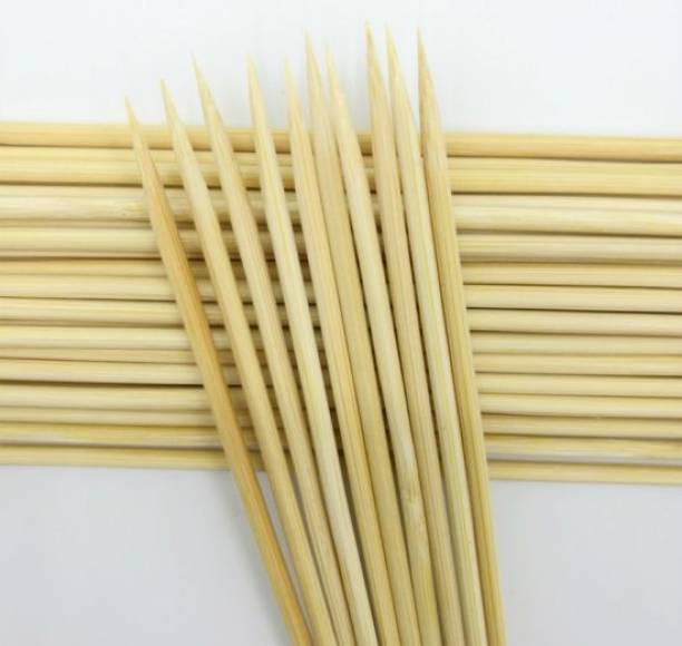 ZEONELYMART 14 inches 5mm Heavy Duty Wooden bamboo Skewers sticks,Potato Twister Stick (100pcs) Disposable Bamboo Fruit Fork Set