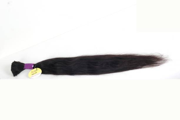 Ritzkart Vergin Human  Loose bulk Bundle, Temple  with Single Cut Donner Natural Black World Class Top Quality 18 inch 100gm Hair Extension