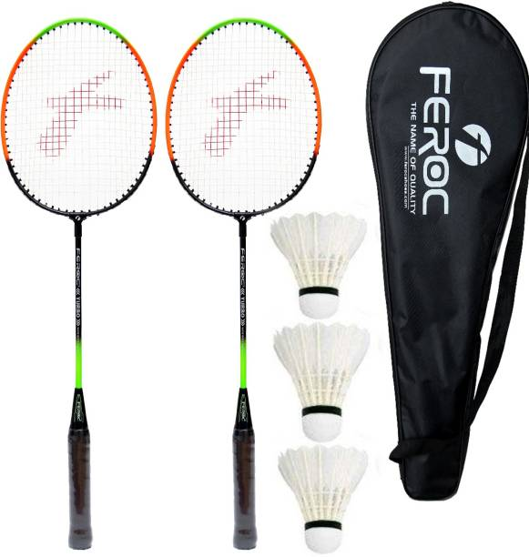 Feroc Aluminum Badminton -Racket Set of -2 with- 3 Pieces Feather shuttles with Full- Cover Badminton Kit