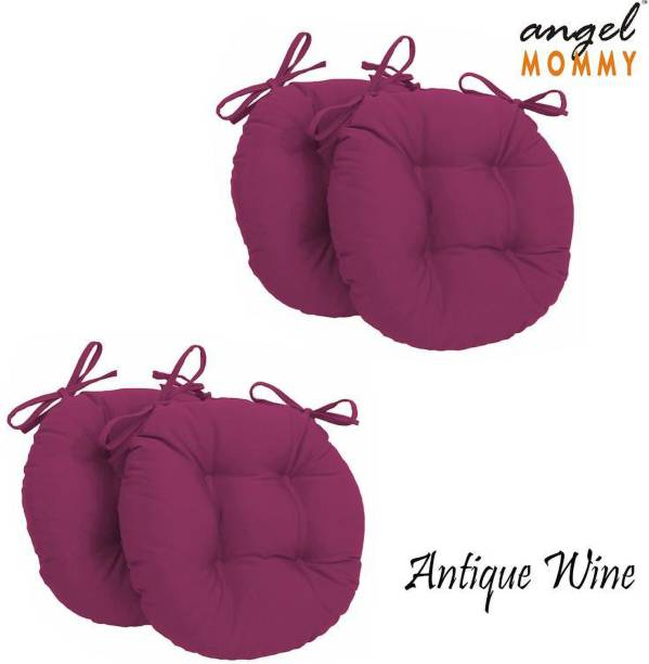 Angel Mommy Antique Round Chair Cushion Microfibre Solid Chair Pad Pack of 4