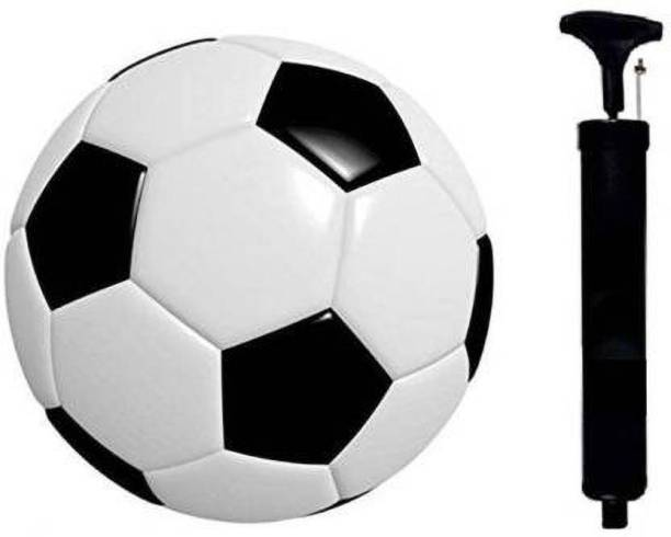 DIBACO SPORTS COMBO BLACK & WHITE SYNTHETIC RUBBER FOOTBALL WITH AIR PUMP Football - Size: 5