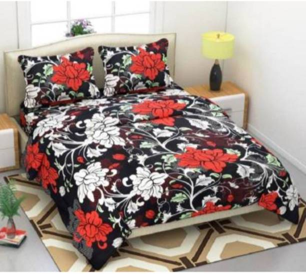 RISING STAR 142 TC Microfiber Double Floral Bedsheet