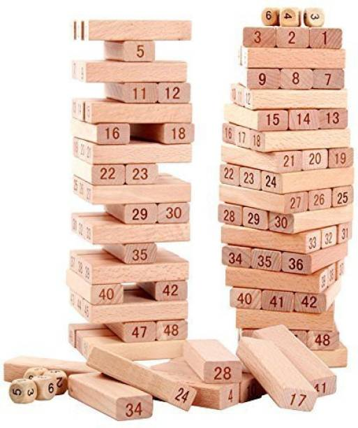 TINEE 51 Pcs Blocks 4 Dices Wooden Tumbling Stacking Jenga Building Tower Game
