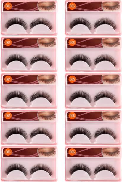 CETC Soft 100% Natural Black Thick Long False Eyelashes Makeup Extension Pack Of 10 Pair Fake Eyelashes