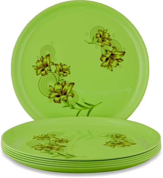 Dine With Us Unbreakable & Microwave Safe Round Printed Green Polypropylene Dinner Plates Freezer Safe Pack Of 6 Dinner Plate