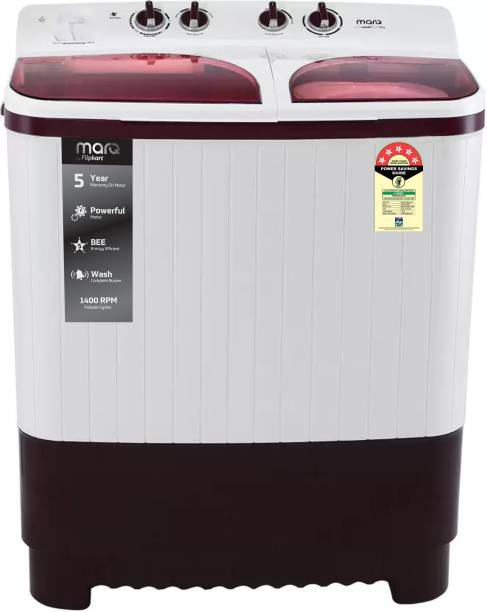 MarQ By Flipkart 7.5 kg 5 Star Rating Semi Automatic Top Load White, Maroon