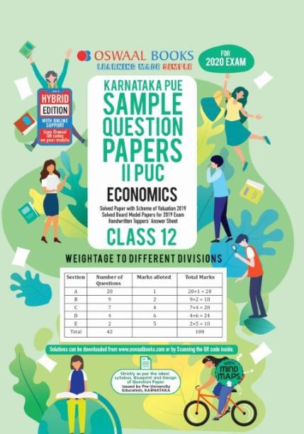 Oswaal Karnataka PUE Sample Question Papers II PUC Class 12 Economics Book (March 2020 Exam)