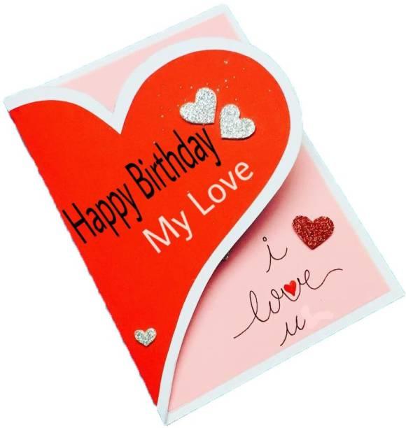 Gaurangi card Birthday Greeting Card for Love - Greeting card - Red Heart Birthday Greeting Cards - I Love you Greeting card (red, pack of 1) Greeting Card