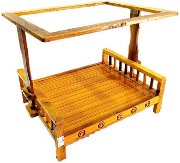PAPU G Mosquito Net Bed/Machardani Bed for Thakur ji /Laddu Gopal (size 0 to 3) Bed No- 2, PURE SAGWAN WOOD Wooden All Purpose Chowki