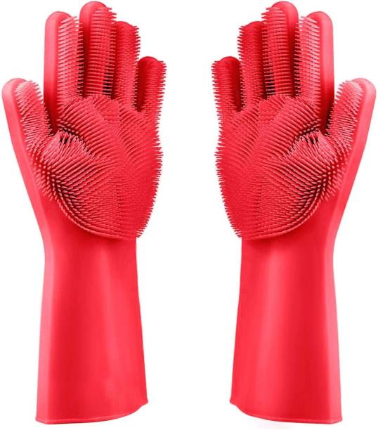 Techobucks Reusable Household Safety Wash Scrubber Heat Resistant Kitchen Gloves for Dish washing, Cleaning, Gardening hand gloves for Kitchen, Car, Bathroom Wet and Dry Glove Set