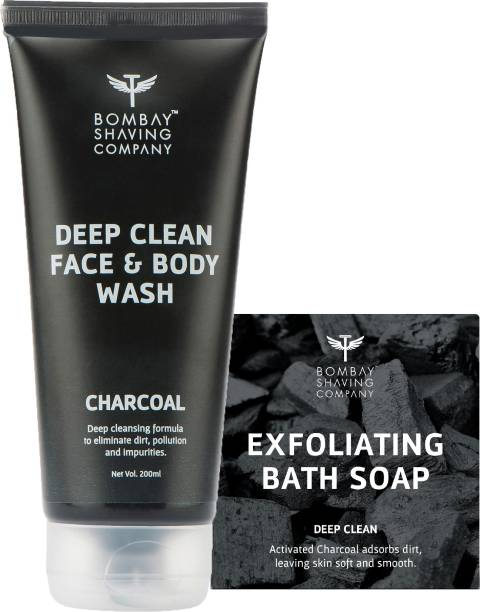 BOMBAY SHAVING COMPANY Bath Care Value Pack with Exfoliating Charcoal and Coffee Handmade Soap (100 g) and Deep Cleaning Charcoal Face & Body Wash (200 ml)