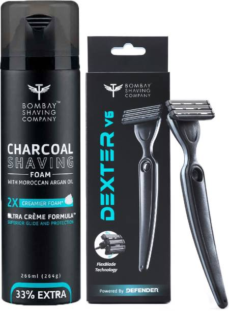 BOMBAY SHAVING COMPANY Shave Care Value Pack with Dexter V6 Shaving Razor and 2X Creamier, 33% Extra Charcoal Shaving Foam enriched with Moroccan Argan Oil (266 ml)