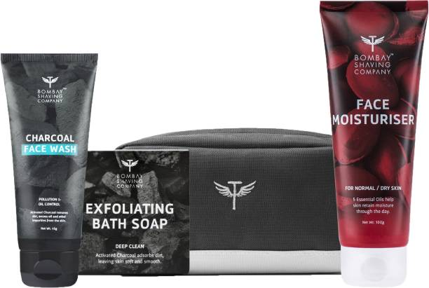 BOMBAY SHAVING COMPANY Bath & Skin Travel Pack with Charcoal Face Wash, Deep Cleansing Charcoal Bath Soap, non greasy Face Moisturiser with 5 Essential Oils & Travel Bag