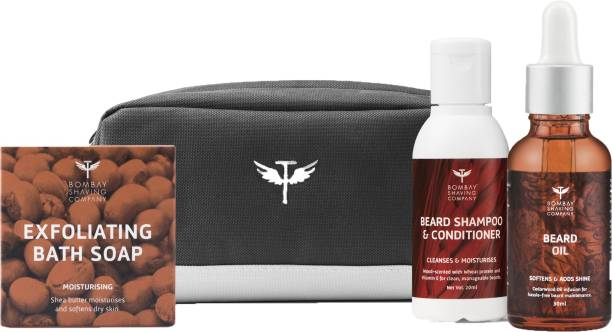 BOMBAY SHAVING COMPANY Beard & Bath Care Travel Pack with Shea Butter Moisturising Soap, Beard Shampoo & Conditioner, Cedarwood Beard Oil & Travel bag