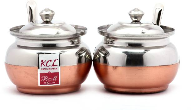 KCL BM Copper Ghee Pot   250 ml Steel Grocery Container