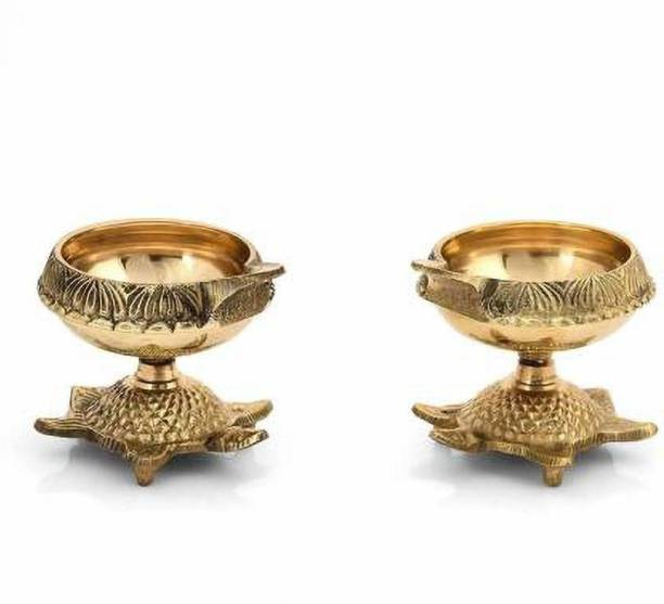 Fashion Bizz Brass Diwali Kuber Deepak On Stand Diyas Table Diya Set Brass (Pack of 2) Table Diya Set