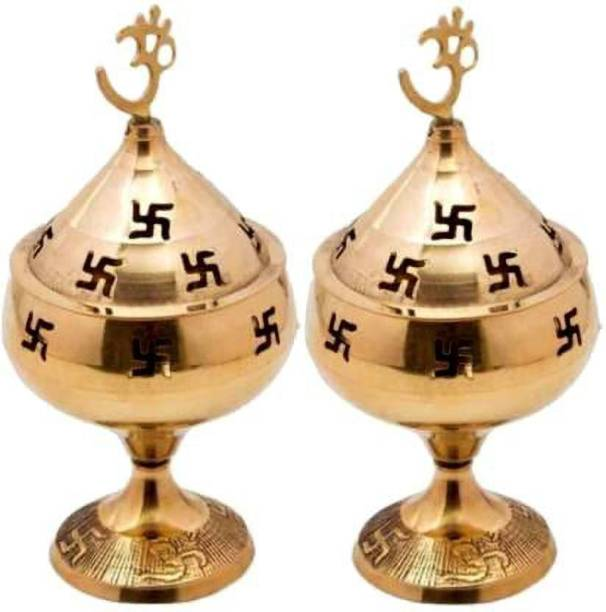 Fashion Bizz Akhand Jyoti Deepak For Spritual Purpose Brass Table Diya Brass (Pack of 2) Table Diya Set