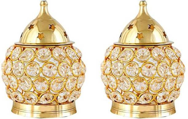 Fashion Bizz Set of 2 Brass Akhand Diya | Diamond Crystal Deepak/Dia | Akhand Jyot | Magical Lantern Brass Diya | Decorative Brass Crystal Oil Lamp | Tea Light Holder Lantern | Puja Lamp Brass Table Diya Brass, Crystal (Pack of 2) Table Diya