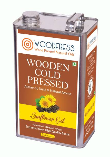 WOODFRESS Wooden Cold Pressed Sunflower Oil 5L (Wood Pressed / Lakdi Ghani / Marachekku) Sunflower Oil Tin