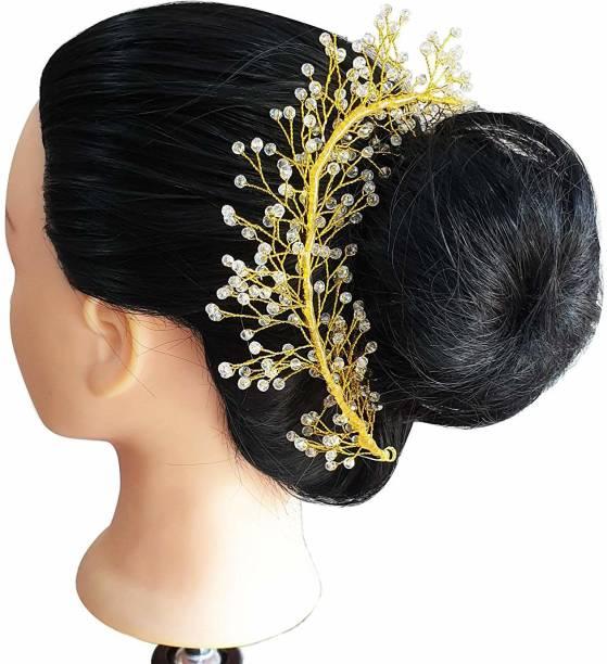 Foreign Holics South Indian Golden Diamond Dancing/Wedding Hair Gajra Tiara Bun Accessories For Women & Girls Bun