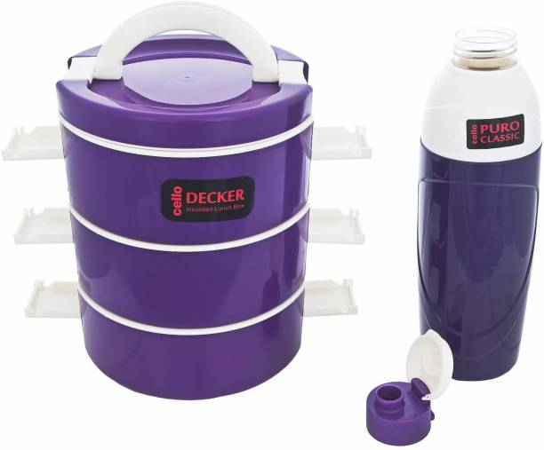 cello decker lunch tiffin bottle combo purple 3 Containers Lunch Box