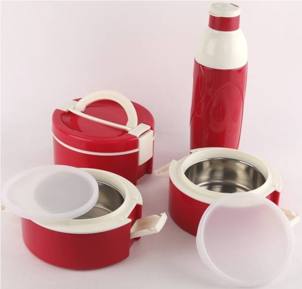 cello decker lunch tiffin bottle combo red 3 Containers Lunch Box