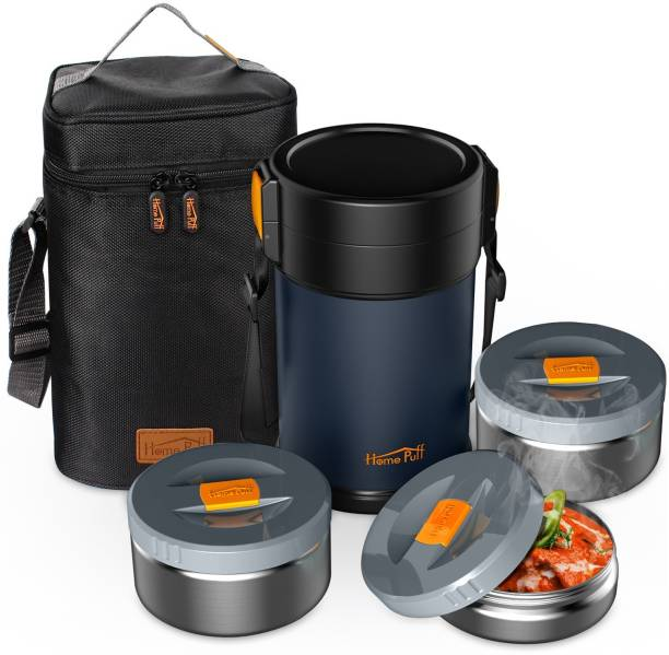Home Puff Contigo-L Lunch Box Stainless Steel Vacuum Insulated, with Bag. 3 Containers Lunch Box