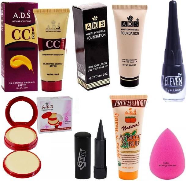 SWIPA Kajal+Eyeliner+CC Cream+Foundation+2 in 1 Compact+Scrub(50gm)+Puff