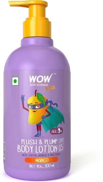 WOW SKIN SCIENCE Kids Plush & Plump Body Lotion - Mango - SPF 15 - No Parabens, Mineral Oil, Silicones & Color - 300mL