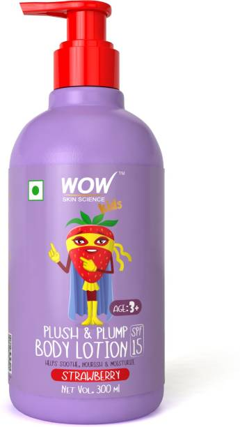 WOW SKIN SCIENCE Kids Plush & Plump Body Lotion - Strawberry - SPF 15 - No Parabens, Mineral Oil, Silicones & Color - 300mL