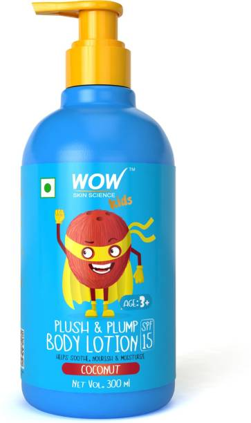 WOW SKIN SCIENCE Kids Plush & Plump Body Lotion - Coconut - SPF 15 - No Parabens, Mineral Oil, Silicones & Color - 300mL